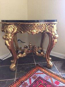 Antique Gilt Wood Center Coffee Table Carved Marble Top Hall
