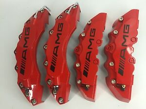 Amg Brake Caliper Cover 4pcs For Mercedes Benz Red Universal Plastic Cover