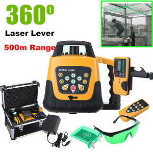 Self leveling Rotary Rotating Green Laser Level Kit With Case 500m Range