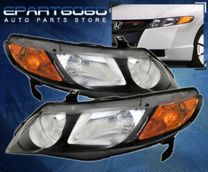 2006 2011 Honda Civic Dx Lx Ex Headlights Crystal Black 4dr Amber Reflectors