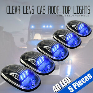 5pcs Clear Led Roof Top Truck Suv Cab Marker Running Clearance Lights Set Kit