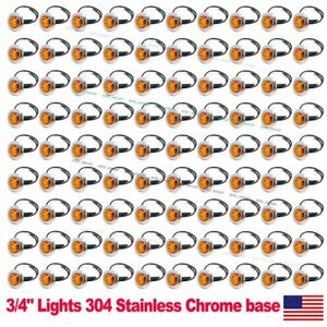 100x Amber 3 4 Round Side 3 Led Marker Trailer Bullet Chrome Stainless Lamps Us
