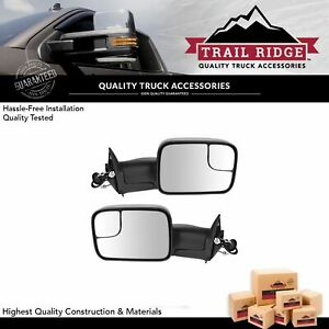 Trail Ridge Tow Mirror Power Heated Textured Black Flip Up Pair For Dodge Ram