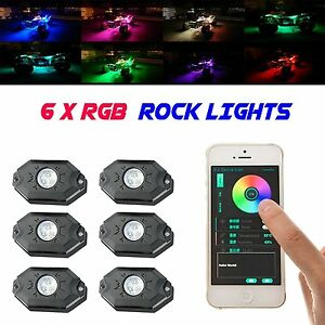 6 Led Rock Lights Aluminum Wireless W bluetooth Music Rgb Color Accent Under Car