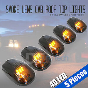 5pcs Smoked Led Roof Top Truck Suv Cab Marker Running Clearance Lights Set Kit