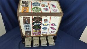Vintage Monarch Sticker Tattoo Vending Machine 4 Slot Columns Quarters Coin Op