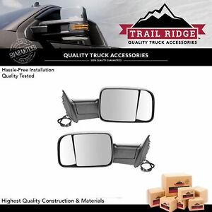 Trail Ridge Tow Mirror Power Heated Textured Black Pair For Dodge Ram Truck New