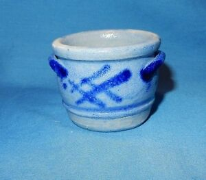 Cobalt Blue Decorated Mini Stoneware Salt Glaze 1 3 4 Handled Crock Miniature B
