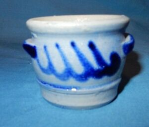 Cobalt Blue Decorated Mini Stoneware Salt Glaze 1 3 4 Handled Crock Miniature E