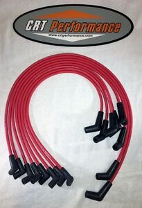Bbc Chevy 396 427 454 502 Hei Red 8mm Spark Plug Wires 45 Degree Ends Usa