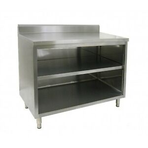 14 X 60 Stainless Steel Storage Dish Cabinet Open Front W Backsplash