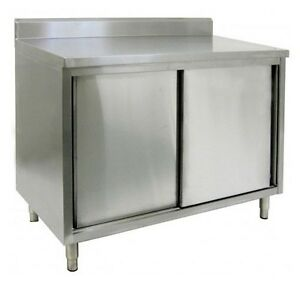 14 X 60 Stainless Steel Storage Dish Cabinet Swinging Doors W Back Splash