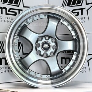 17x9 4x100 114 3 20 Mst Mt07 Gun Metal 5 Spokes Machine Lip With Rivet Wheels