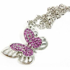 Silver Bling Butterfly Mirror Car Charm Hanger Ornament Pink Rhinestones With