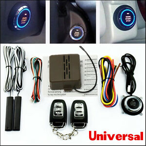 Car Alarm System Security Keyless Entry Ignition Engine Start Push Button Remote