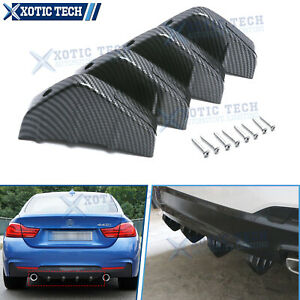 Carbon Fiber Pattern Car Rear Bumper Lip Diffuser Shark 4 Fins Splitter Body Kit