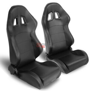 2x Universal Fully Reclinable Black Pvc Leather Xl 14 Sport Racing Seat L r Side