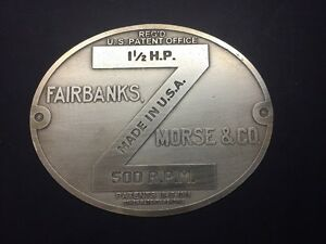 New Fairbanks Morse Z 1 1 2 Hp Etched Brass Tag For Antique Hit Miss Gas Engine
