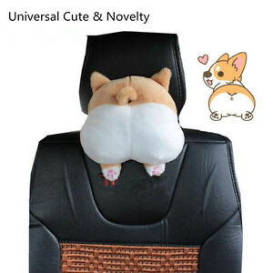 Universal Novelty Cute Soft 3d Pet Dog Buttock Car Suv Headrest Seat Neck Pillow