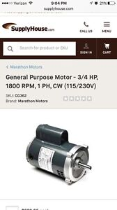 Marathon Electric Motor 3 4 Hp