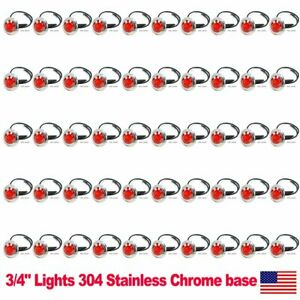 50x 3 4 Side Marker Light 3 Smd Red Led Truck Trailer Rv Stainless Steel Us