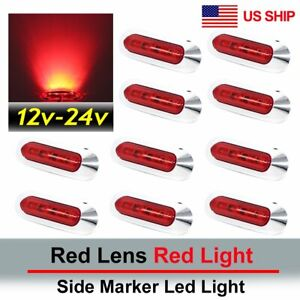 10x Red 4 Smd Led Side Marker Tail Light Clearance Lamp Truck Trailer 12v 24v Us