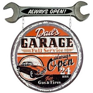 Dad s Garage Always Open Signs Gas Pump Globe Garage Man Cave Decor Snap On Tool
