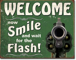Smile For The Flash Vintage Style Metal Signs Man Cave Garage Decor