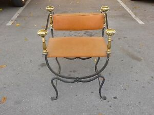 Superb 19th C Brass And Iron Savonarola Chair With Exaggerated Posts P