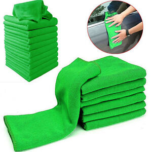 10x Green Microfiber Cleaning Auto Car Detailing Soft Cloths Wash Towel Duster