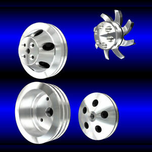4 Pulley Set Billet Small Block Sb Chevy Short Water Pump 283 327 350 Alt Ps Ac