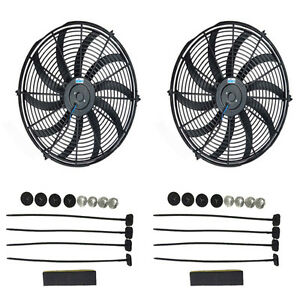Dual Universal 16 Inch Electric Cooling Radiator Fans Hot Rod 12v
