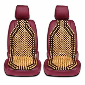 Zento Deals 2x Natural Wooden Beaded Car Back Massaging Comfy Seat Cushion Cover