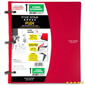 Five Star Flex Red Notebinder 1 inch Capacity 11 5 X 11 Inches Notebook And