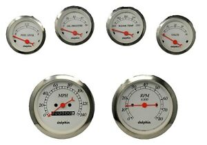 6 Gauge Hot Rod Street Rod Universal Dash Set Mechanical Speedometer White