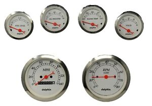 6 Gauge White Mechanical Speedometer Set Street Rod Hot Rod Universal