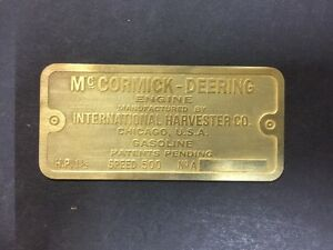 New Mccormick Deering Ihc 1 1 2 M Etched Brass Tag Antique Gas Engine Hit Miss