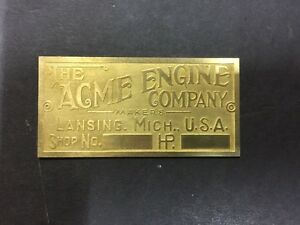 New Acme Etched Brass Tag Antique Gas Engine Hit Miss