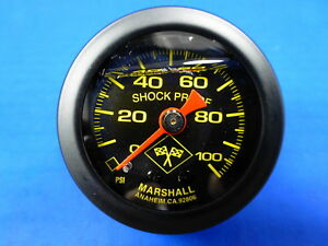 Marshall Gauge 0 100 Psi Fuel Pressure Oil Pressure 1 5 Midnight Black Liquid