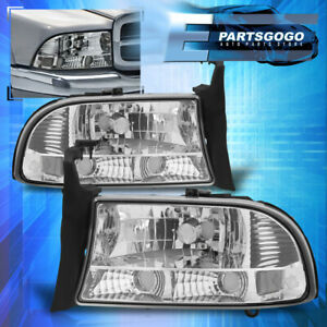 For 97 04 Dodge Dakota Durango 1pc Headlights Chrome Housing Clear Bumper Lamps