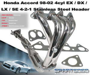 1998 2002 Honda Accord Dx Ex Lx Se 4cyl L4 Stainless 4 2 1 Exhaust Header