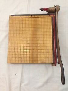 Vintage 1940s Ingento No 5 Solid Maple Heavy Duty Steel Paper Cutter Trimmer