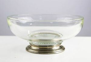 Antique Glass Sterling Silver Base Dish Bowl