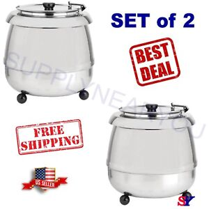 2 X 11 Qt Round Stainless Steel Countertop Food soup Kettle Warmer Commercial