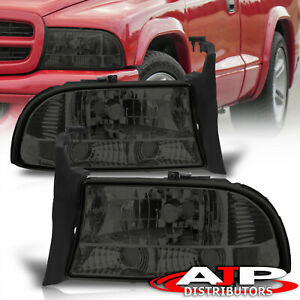 1997 2004 Dodge Dakota 1998 2004 Durango 1pc Crystal Smoke Headlights Reflectors