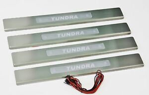 Blue Led Stainless Steel Door Sill Scuff Guards For 2007 2013 Toyota Tundra New