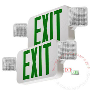 2pack Green All Led Exit Sign Emergency Light Standard Combo Ul924 Combog2