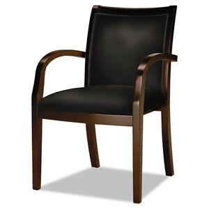 Mayline Mercado Ladder back Wood Guest Chair Mahogany Finish Black Leather
