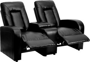 leather 2 seat Home Theater Recliner W Storage Console Bt 70259 2 bk gg