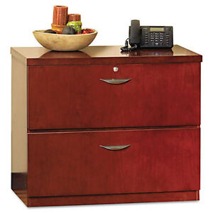 Mayline Mira Series Wood Veneer 2 drawer Lateral File 34w X 24d X 29h Med Cherry